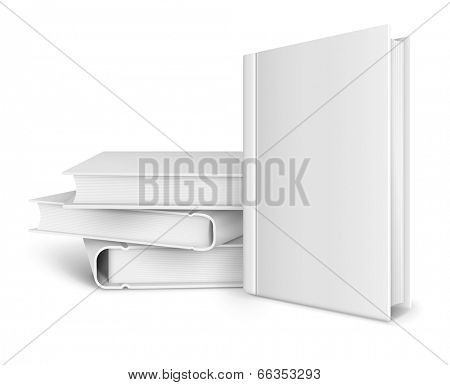 book template with blank cover and pile of books. Rasterized illustration.