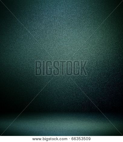 Abstract illustration background texture of light gray and dark blue, black gradient wall, flat floor, sides from metal in empty spacious room interior