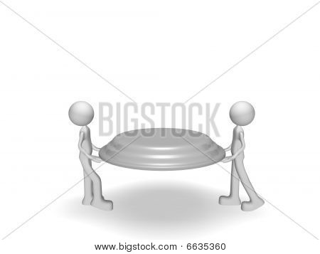 two people holding a tray