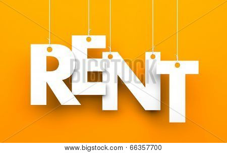 Rent. Text on the string poster