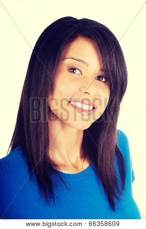 Young happy casual woman portrait poster