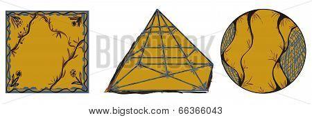 Ornamental Geometric Shapes Circle Square Pyramid