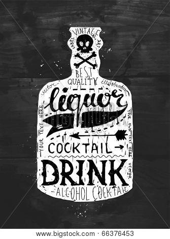 Vintage Bottle Label Design. Retro Typography Elements. Black Wood Texture Background