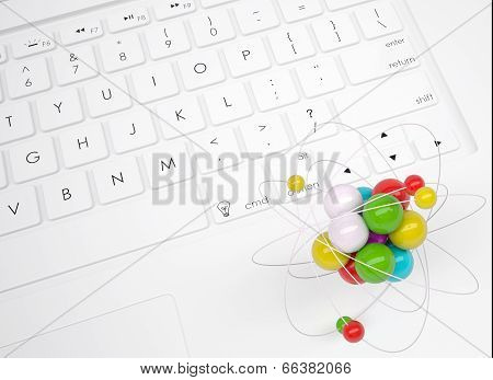 Abstract molecule on the keyboard