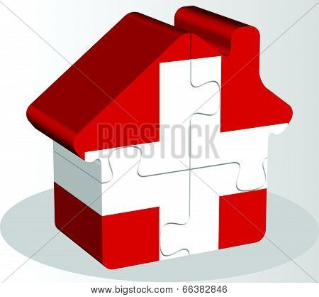 Vector illustration of house home icon with Swiss flag in puzzle isolated on white background
