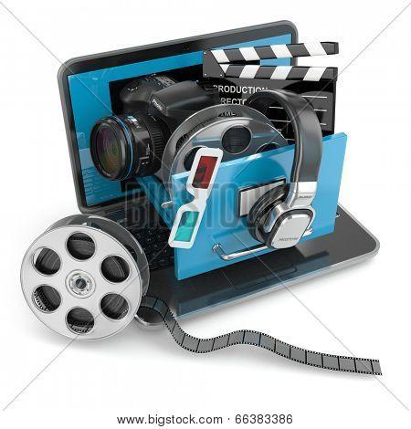 Multimedia concept. Laptop, camera , headphones and video attributes. 3d