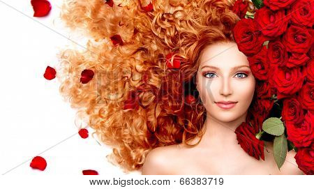 Beauty model girl with long curly red hair and beautiful red roses hairstyle. Fashion woman with Wavy healthy hair isolated on white background. Permed hair poster