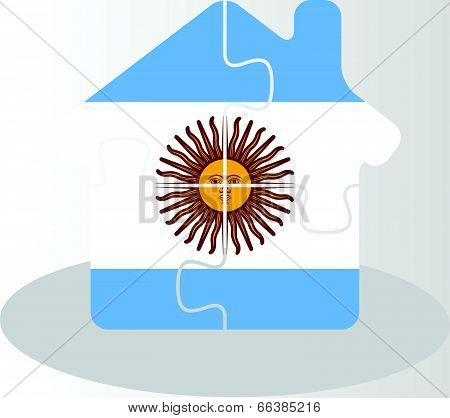 Vector illustration of house home icon with Argentinian flag in puzzle isolated on white background