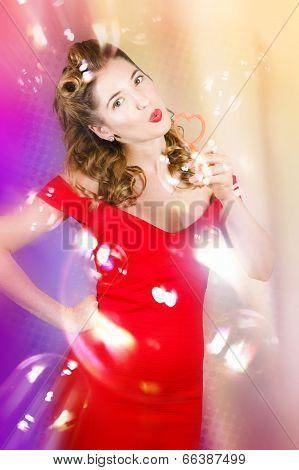 Beautiful Pin-up Girl At Retro Disco Dance Party