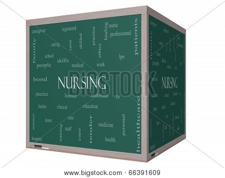 Nursing Word Cloud Concept On A 3D Cube Blackboard