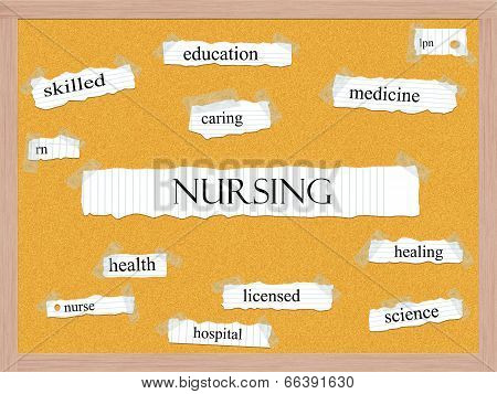 Nursing Corkboard Word Concept