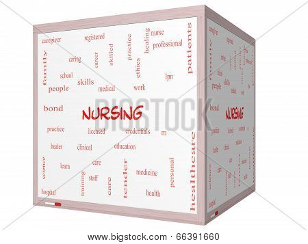 Nursing Word Cloud Concept On A 3D Cube Whiteboard
