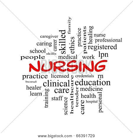 Nursing Word Cloud Concept In Red Caps