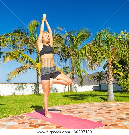Woman Yoga Meditating Outdoors