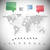 world map with stationery nails, note papers and dialog boxes poster