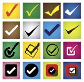 tickmark checkmark right mark correct choice - vector icons set. This graphic can also represent approval right choice correct selection true positive answer yes acceptance confirmation poster