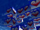A set of cubed  heart's for romantic concepts. poster