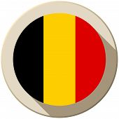 Vector - Belgium Flag Button Icon Modern poster
