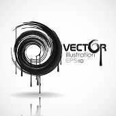 Black Brush Stroke In The Form Of A Circle. Vector Illustration. Eps 10 poster