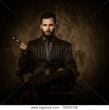 Handsome well-dressed man with walking stick sitting in leather chair  poster