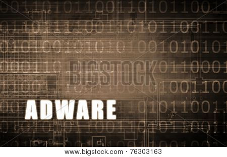 Adware on a Digital Binary Warning Abstract