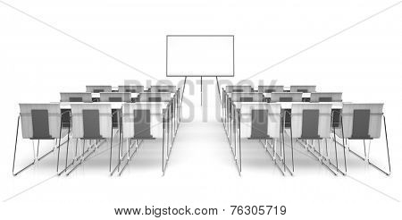 Classroom isolated on white background 3D rendering