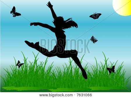 Silhouette Jump Girl