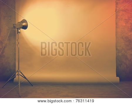 photo studio in old grunge room with concrete wall and paper background, retro filtered, instagram style