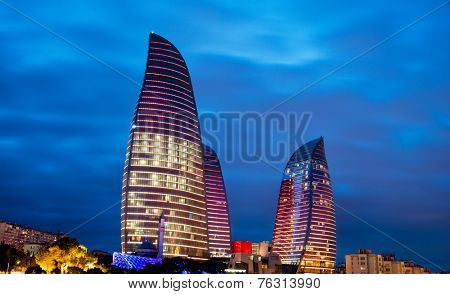 Baku - MARCH 9, 2014: Flame Towers on March 9 in Azerbaijan, Baku. Flame Towers are new skyscrapers in Baku