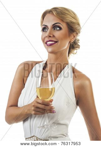 smiling woman with a glass of champagne