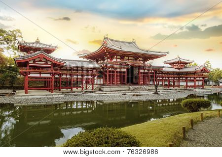 The Phoenix Hall of Byodo-in Temple in Kyoto Japan poster