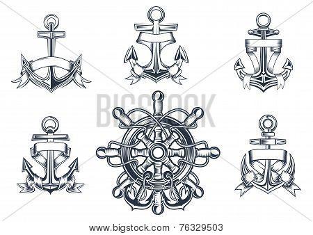 Vintage marine and nautical icons