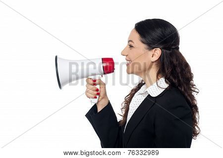 Business Woman Posing With Megaphone