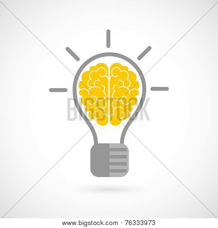Human brain in lightbulb flat