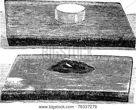 The Effect Produced By Explosion Of Gun-cotton Vintage Engraving