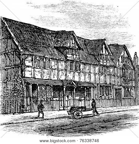 Shakespeare's Birthplace at Stratford-upon-Avon vintage engraved illustration. A view of the house that William Shakespeare was born in Stratford-Upon-Avon United Kingdom. Trousset encyclopedia (1886 - 1891). poster
