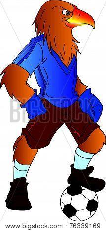 Humanoid Eagle Playing Soccer, Illustration