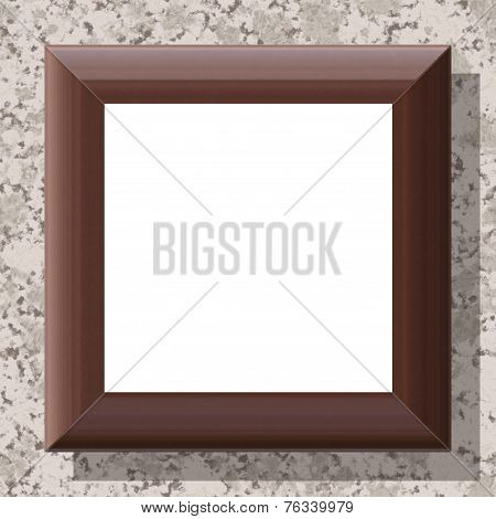 Blank Wooden Frame On Patterned Wall