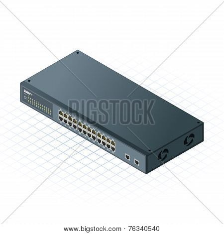 Isometric Switch 24 Ports with 2 Uplink Ports Vector Illustration