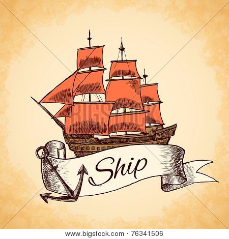 Sailing tall ship wooden vintage clipper with red sails nautical emblem with ribbon and rope vector illustration poster