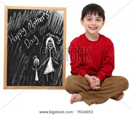 Happy Mother Tag Boy with Clipping path