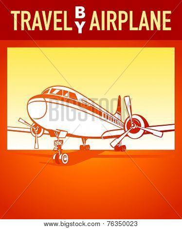 Travel by airplane orange retro poster
