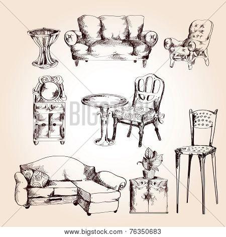 Furniture sketch set