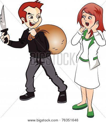 Vector Of Burglar Threatening Woman With Knife.