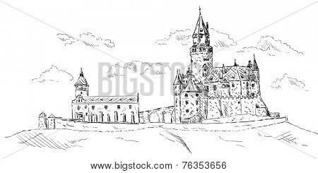 vector -  Old medieval castle Bouzov ,Czech republic,Europe