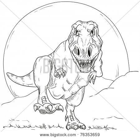 vector - run dino  T-Rex  isolated on background
