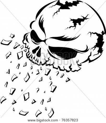 Shattering human skull tattoo design vintage engraved illustration. poster