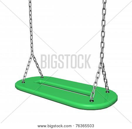 Green  Plastic Swing With Chains, 3D Illustration