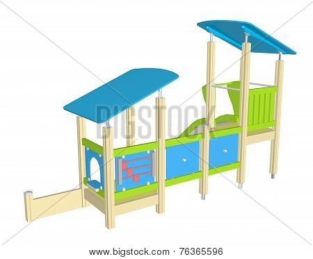 Playhouse With Slide, 3D Illustration