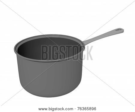 Black Teflon Coated Or Cast Iron Cooking Pot, 3D Illustration